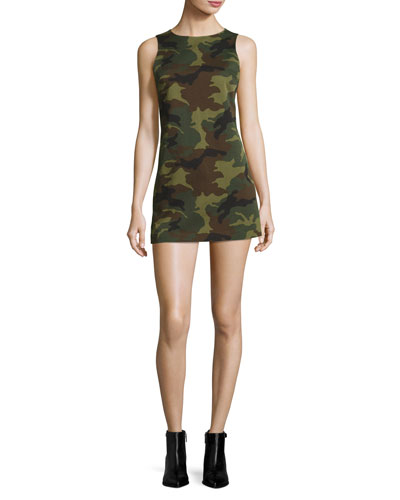 Clyde Sleeveless A-Line Camo Mini Dress