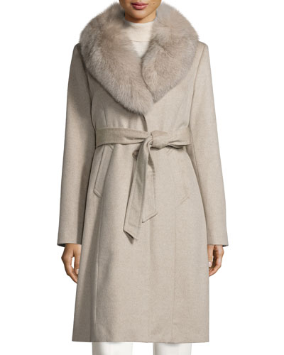 Fur-Collar Wrap Coat