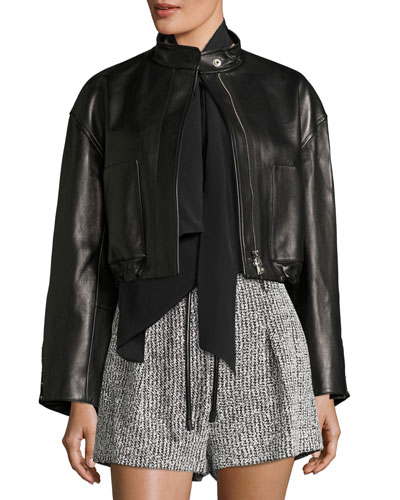 Cropped Lamb Leather Bomber Jacket