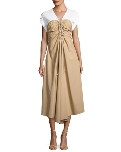 Cap-Sleeve Gathered Front Cotton Woven Dress