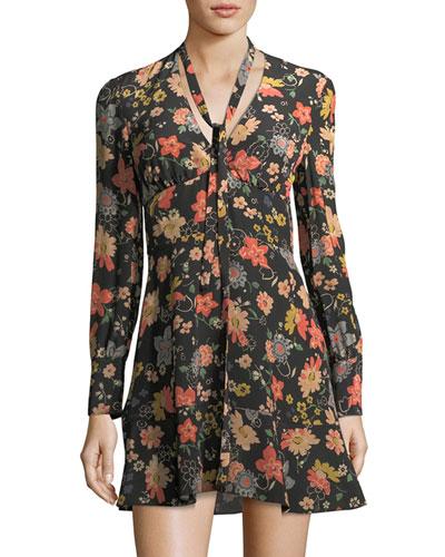 Chelsea Long-Sleeve Tie-Neck Floral-Print Minidress