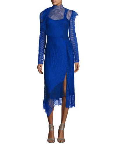 Long-Sleeve Lace Patchwork Midi Dress