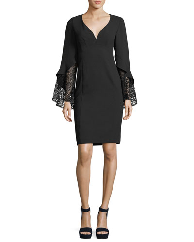 Betty V-Neck Lace Sleeve Sheath Cocktail Dress