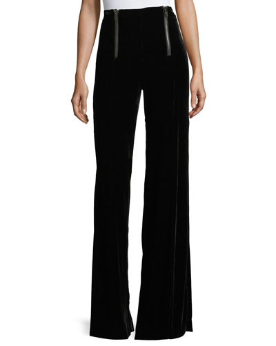 Victoria High-Waist Wide-Leg Velvet Pants