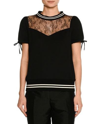 Short-Sleeve Lace-Neck Cotton Sweatshirt