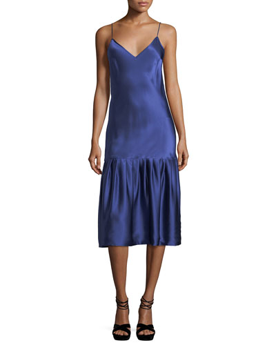 Don't Underestimate Me Silk Satin Midi Slip Dress