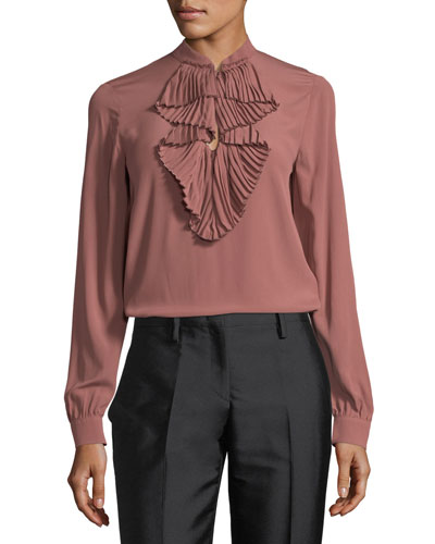 Ruffle-Front Long-Sleeve Silk Shirt w/ Embellishments