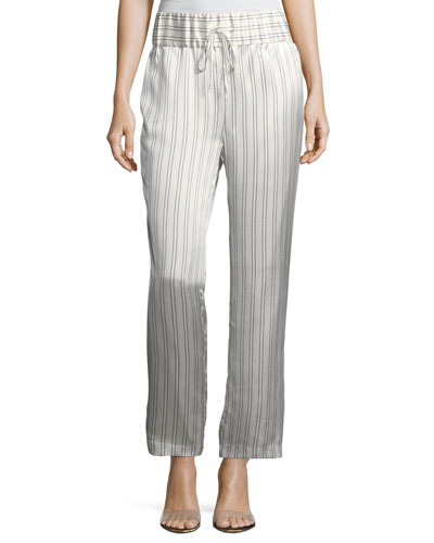 Silk Somewhere Striped Drawstring Pants