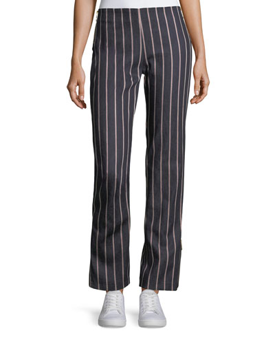 Loyal Companion Slim Straight-Leg Striped Denim Pants