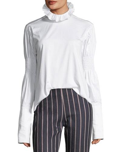 You Make Me Brave Funnel-Neck Long-Sleeve Cotton Shirt