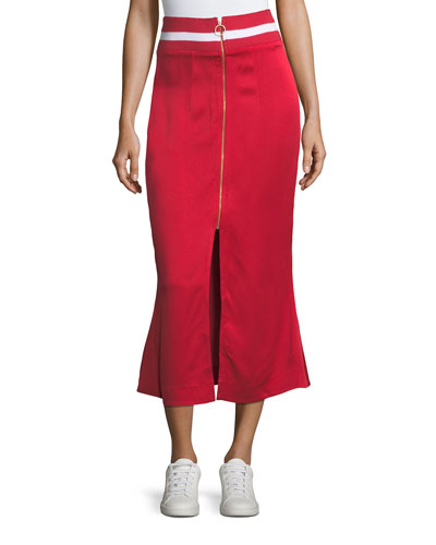 Focus on the Good Flared Midi Satin Skirt w/ Ribbed Waist