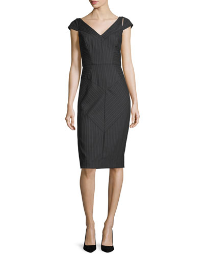 Larissa Cap-Sleeve Pinstriped Sheath Dress