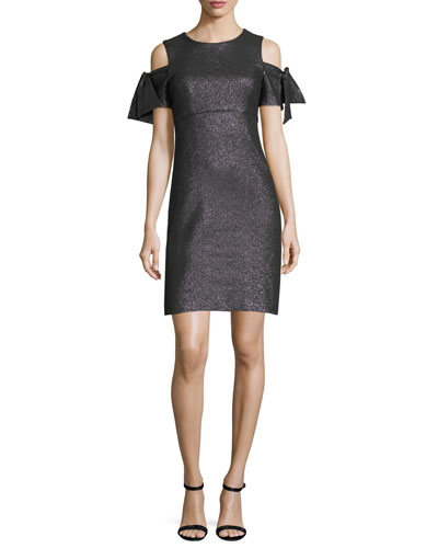Tie-Sleeve Cold-Shoulder Stretch-Lurex® Cocktail Minidress