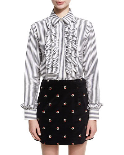 Frill Placket Striped Poplin Shirt