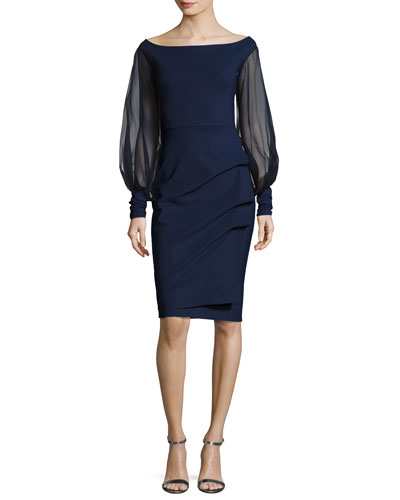 Nita Organza-Sleeve Cocktail Dress