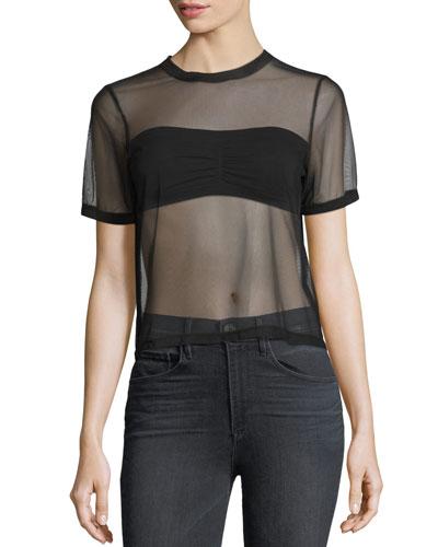 Mesh Short-Sleeve Crewneck T-Shirt