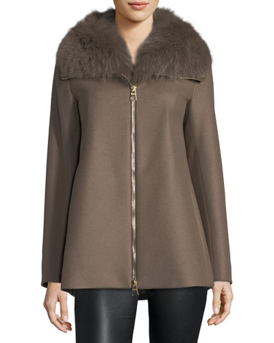 Long-Sleeve Zip-Front Swing Wool Coat w/ Fur Collar