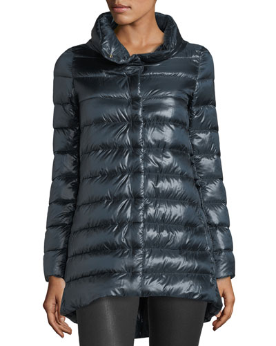 Ribbed High-Low Down Puffer Jacket, Navy