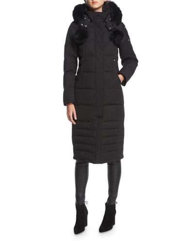 Saskatchewan Zip-Front Quilted Puffer Coat w/ Pompoms