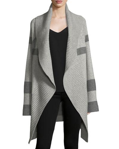 Check Open-Front Coat Cardigan