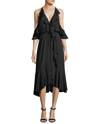 Bryce Cold-Shoulder Ruffled Stretch-Silk Dress