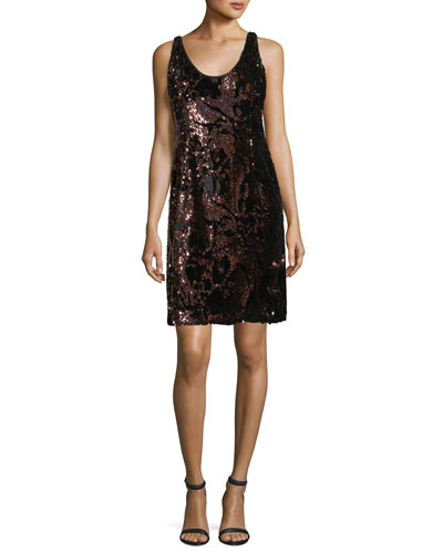 Cora Sleeveless Sequined Velvet Cocktail Minidress
