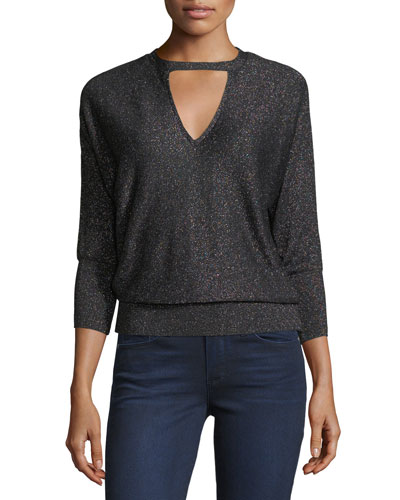 Italian Shimmer Cutout Sweater