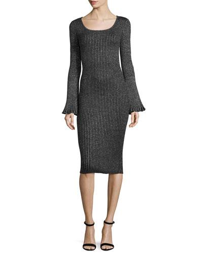 Flare-Sleeve Ribbed Metallic Sweater Dress