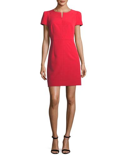 Short Pouf Sleeve Italian Cady Dress