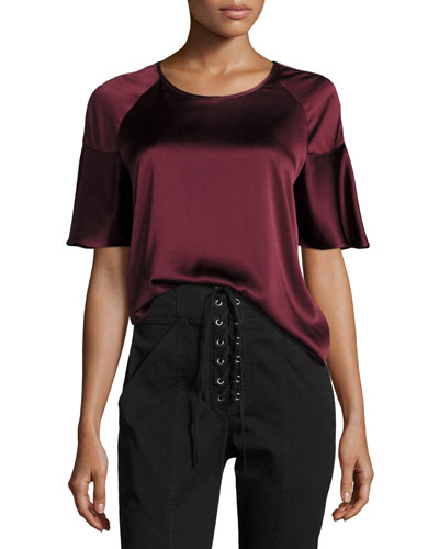 Lisa Crewneck Short-Sleeve Satin Blouse