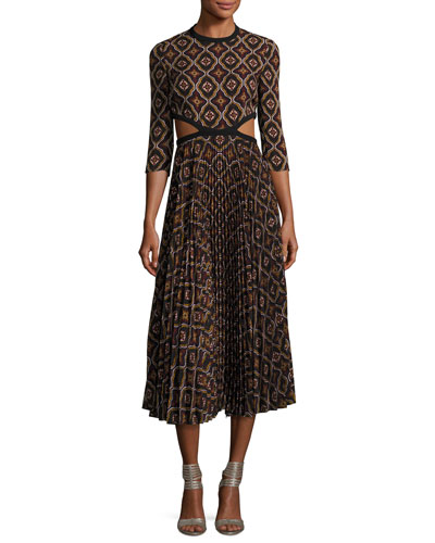 Holly Kaleidoscopic Cutout-Waist Pleated Midi Dress