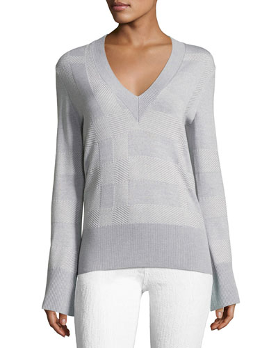 Angell V-Neck Bell-Sleeve Check Sweater
