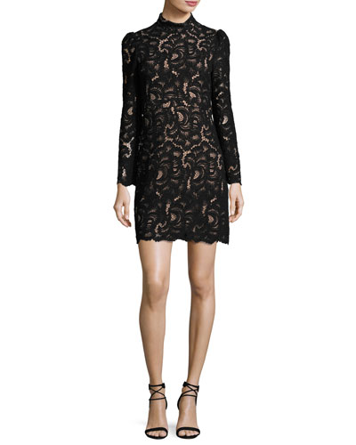 Nova Mock-Neck Long-Sleeve Lace Cocktail Dress