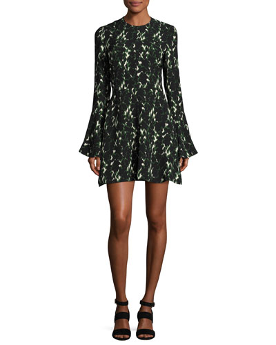 Trixie Long-Sleeve Printed Silk Dress