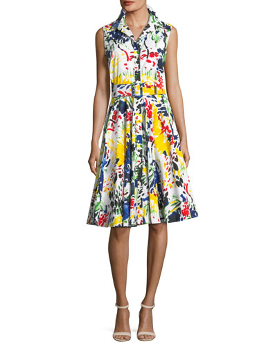 Gigi Sleeveless Abstract-Print Shirtdress