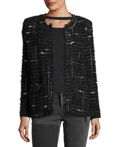 Espo Long-Sleeve Open-Front Boucle Jacket