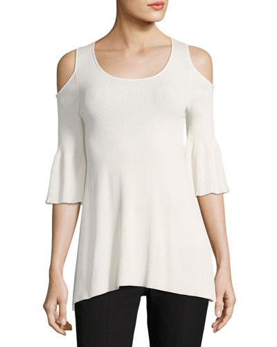 Hennie Cold-Shoulder Round-Neck Peplum Top