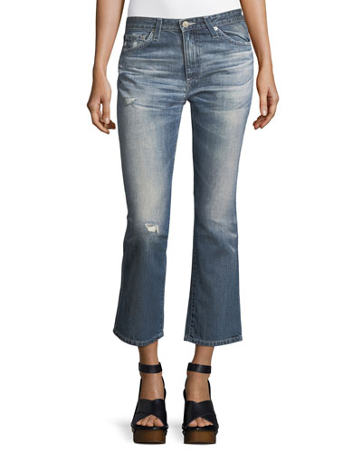 Jodi Slim Flared Faded Distressed Crop Jeans