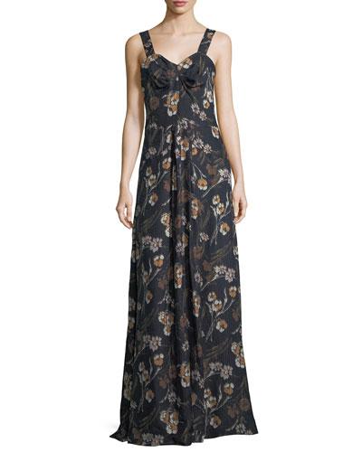 Floral-Print Sleeveless Maxi Dress