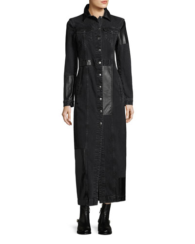 Recycled Denim Button-Front Long-Sleeve Duster Coat