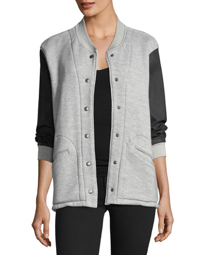 Classic Snap-Front Varsity Jacket w/ Contrast Sleeves