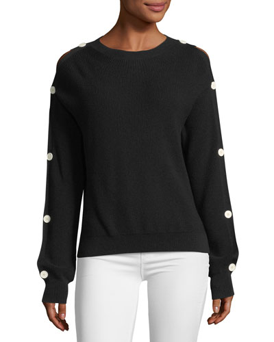 Button-Sleeve Knit Sweater