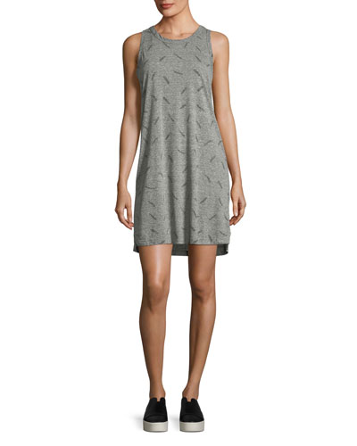 The Muscle Tee Feather-Print Dress