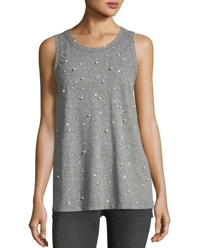 The Crewneck Muscle Tee with Star Print & Studded Trim