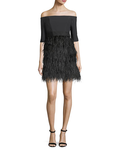 Tina Off-the-Shoulder Tech Stretch Feather Cocktail Dress