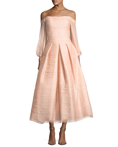 Off-the-Shoulder Crinkled Chiffon Tea-Length Cocktail Gown