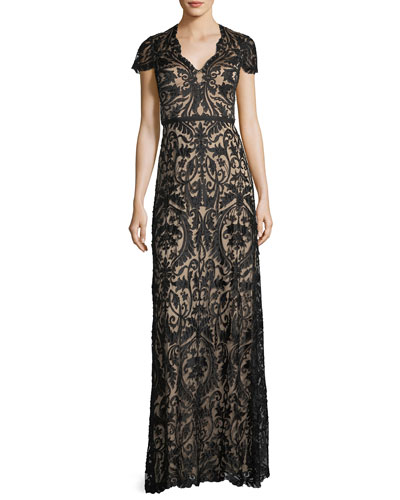 Beaded Lace Cap-Sleeve Gown