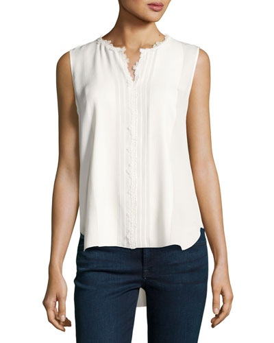 Amerie Sleeveless Lace-Trim Silk Blouse, Ivory