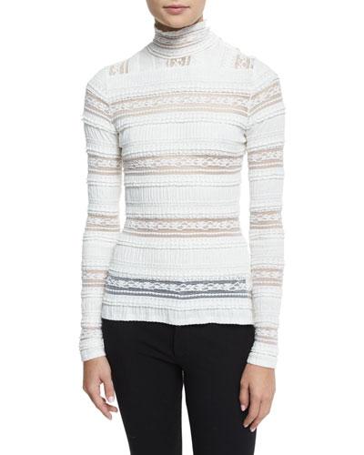 Antonia Turtleneck Sheer-Striped Top, Ivory