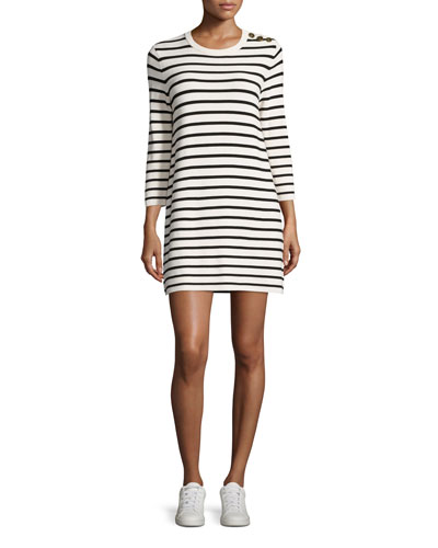 Lemdrella Prosecco Striped Sweater Dress, White